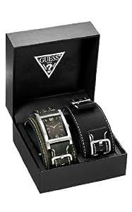 Guess - 75540G1 - Montre Homme - Quartz analogique - Coffret - Bracelet en Cuir Marron - Avec 1 bracelet supplémentaire Noir