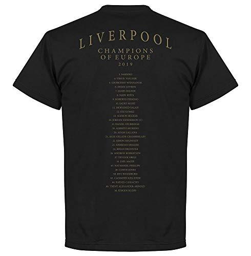 Liverpool Wappen Europameister Mannschaft T-Shirt - schwarz - XXL - Wappen Schwarzes T-shirt