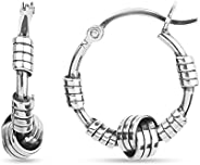 LeCalla Sterling Silver Jewelry Italian Design Balinese Love Knot Hoop Earrings for Teens and Women