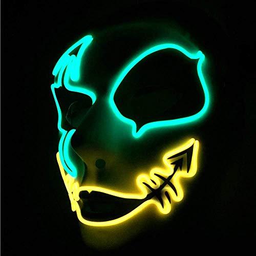 CX TECH Horror Party Mask Glowing Fox Masken LED Kaltlichtmaske Böse Gesichtsmaske Cosplay Street Dance Handgemaltes Kostüm Dekoration Ostern Grimasse Festival