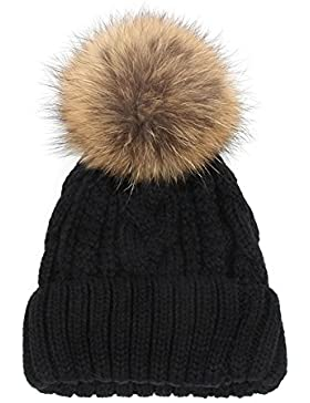 Q.KIM Mujer Niña Invierno Crochet Sombrero Lana Knit Gorro Casquillo Caliente Hemming Gran Raccoon Pompon-Felpa...