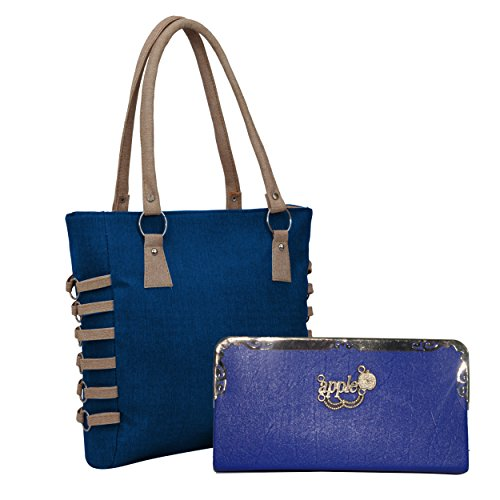 Alice Pu Leather Handbag And Wallet Clutch Combo For Women's And Girls - Blue (Khadi 509)