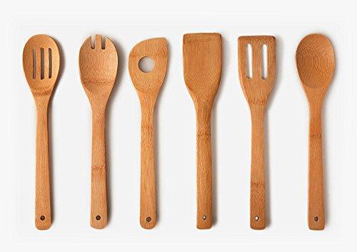 Home Basic - Juego de cucharas, utensilios de cocina de bambú , 6-er, approx. 30,5 cm x 6 cm, 240 g (40 g x 6)