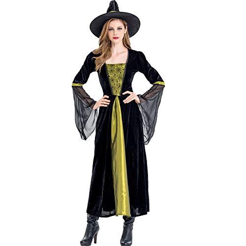 Jede Hexe Kostüm - LEGOU Damen Schwarzes Hexen KostüM Mit Hexenhut Hexe Wicked Deluxe Halloween Karnevalkleidung FüR Erwachsene,Zwei GrößEn,M