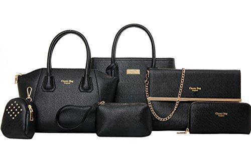 Coofit Damen Handtasche Stellen PU Leder Schulter Bag Kupplung Geldbörsen Tote 6 Stück