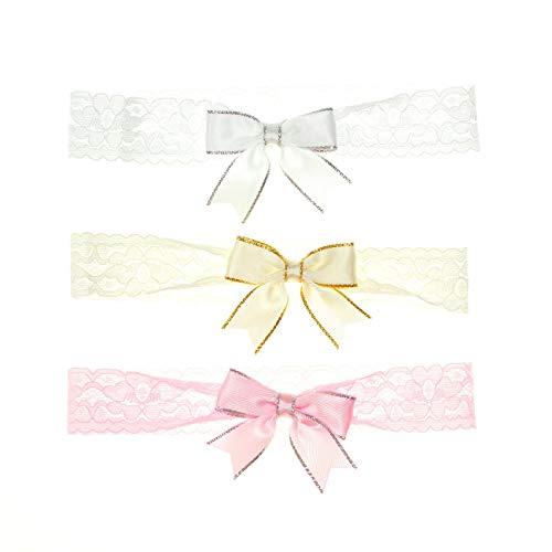 Soft Touch Baby Haarbänder mit Schleife   Ausführung: Spitzenband   3er Pack Baby Stirnbänder für Neugeborene & Kleinkinder   Einheitsgröße