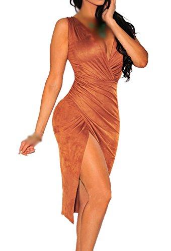 E-Girl SY60660 femme sexy robe mini Marron