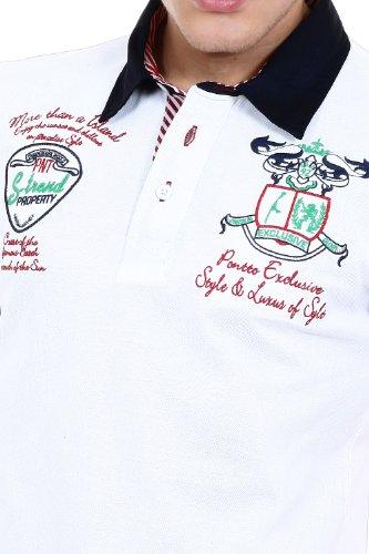 Pontto Herren Designer Polo Hemd Shirt weiß kurzarm - Polohemd Poloshirt Gr. S - 4XL Weiß