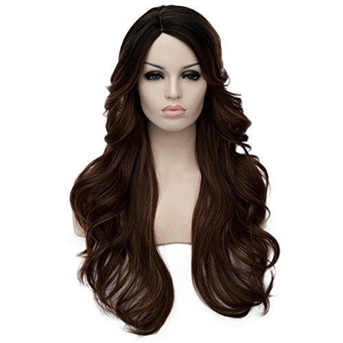 priomix 70cm Synthetik-Hitzebeständig Haar schwarz Root lang wellig Cosplay Perücken für Frauen Plus Kostenlose Perückenkappe