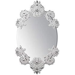 Espejo De Pared Ovalado Sin Marco. Lustre Plata Y Blanco. Serie Limitada. Espejo de Porcelana