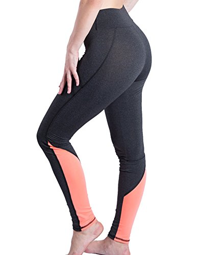 Femme Yoga Leggings de Sport Joggings Collant de Sport Fitness Pantalon de séchage rapide Pantalon de course Orange