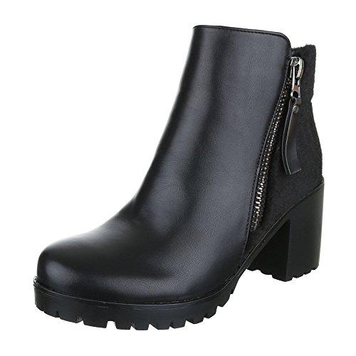Klassische Stiefeletten Damenschuhe Schlupfstiefel Blockabsatz Zipper Reißverschluss Ital-Design Stiefeletten Schwarz