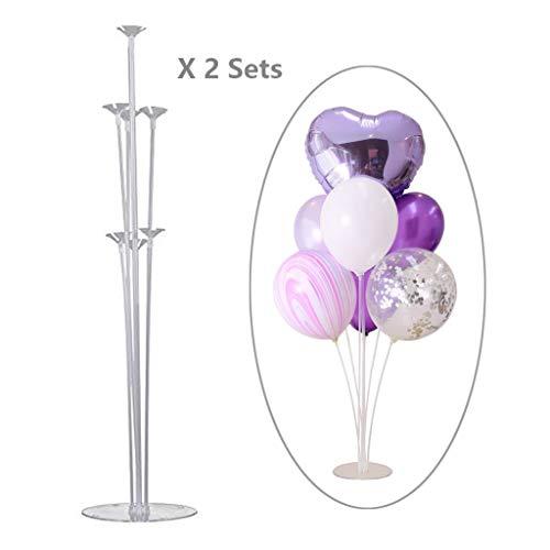 Coriver Ballonbaum, Höhe Tischballonständer Kit mit Kunststoffstab Ballonständer, Hochzeit, Geburtstag, Gartenparty und Feier des großen Ballonzubehörs (2 Sets)