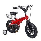1-1 Bici per Bambini Leggero Lega di magnesio Freno a Doppio Disco Ragazzo Ragazza Bicicletta 12 Pollici,Red