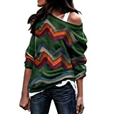 Lucky Mall Damen Langarm Bluse mit Geometrischem Druck, Mode Pullover Tops Sweatshirt, Damen Langarm Rundkragen Colorblock Print Top