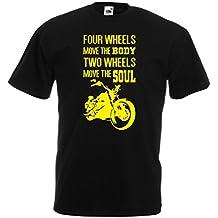 lepni.me Camisetas Hombre Dos Ruedas mueven el Alma: Regalo de Motorista, Refranes