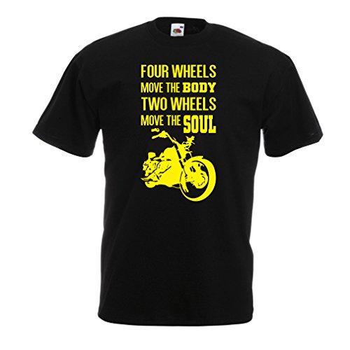 lepni.me Maglietta da Uomo Le Due Ruote muovono l'anima - Dicono Gli Amanti delle Moto, i Capi di Abbigliamento per Motociclisti (Small Nero Multicolore)