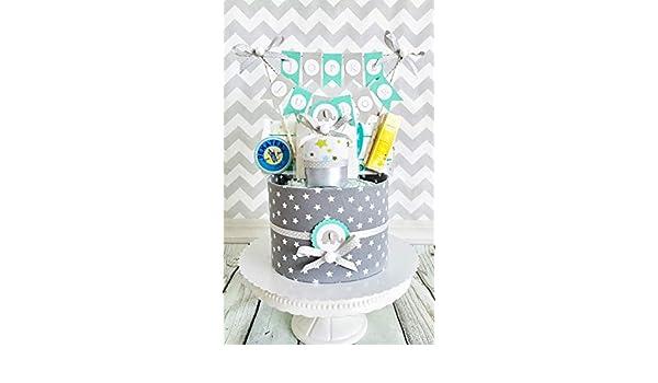 MISS NAPPY CAKE Windeltorte ELEFANT STERNE grau blau rosa Baby M/ädchen Junge neutral Geschenk zur Geburt Taufe Babyparty