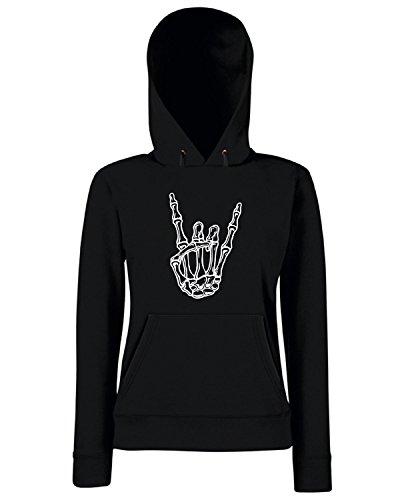 T-Shirtshock - Sweats a capuche Femme FUN0842 bony rock hand womens plus size scoop neck tshir Noir