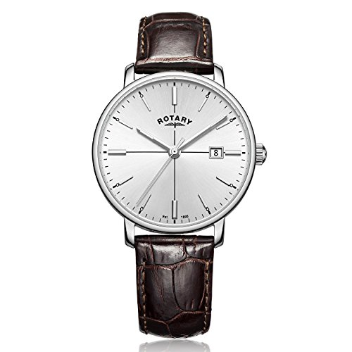 Rotary-Mens-Quartz-Watch-with-Silver-Dial-Analogue-Display-and-Brown-Leather-Strap-GS0033706