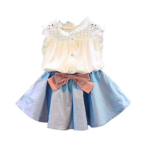Kobay 2 STÜCKE Kleinkind Kinder Baby Mädchen Outfit Kleidung Weste T-Shirt + Bowknot Kurzen Rock Set (130-6/7Jahr, Blau)