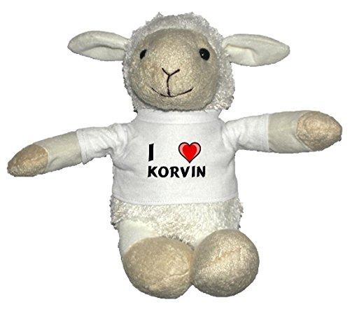 Preisvergleich Produktbild Weiß Schaf Plüschtier mit T-shirt mit Aufschrift Ich liebe Korvin (Vorname/Zuname/Spitzname)