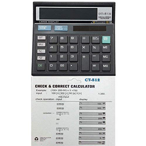 T4GTM Basic Calculator with GT Switch - 12 Digit - 00 Option - 112 Check and Correction Feature - Calculator for Office