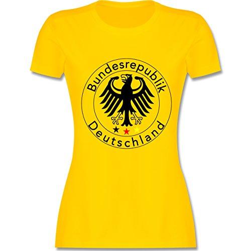 EM 2016 - Frankreich - Deutschland Adler Fußball - tailliertes Premium T-Shirt mit Rundhalsausschnitt für Damen Gelb