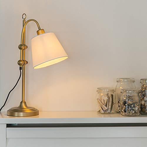 QAZQA Klassisch/Antik Klassische Tischleuchte/Tischlampe/Lampe/Leuchte bronze mit weißem Lampenschirm - Ashley/Innenbeleuchtung/Wohnzimmerlampe/Schlafzimmer Textil/Stahl Andere LED geei