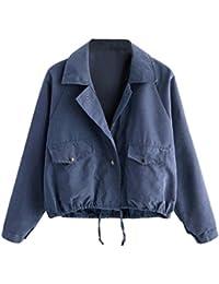 a0205959c5644d MCYs Damen Mode Langarm Kurze Knopf Mantel Pocket Jacke Strickjacke Skin  Suits mit Kapuze Reißverschluss Taschen Sport Mantel Bluse…