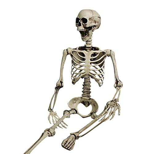 h Kunststoff Halloween Party Dekoration Horror Deko Garten Menschliches Skelett Modell Lebensgroße Figuren für Draussen 90CM (Lebensgroße Horror-requisiten)