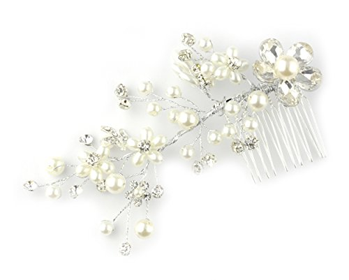 Peigne à cheveux à motif floral, avec fausses perles