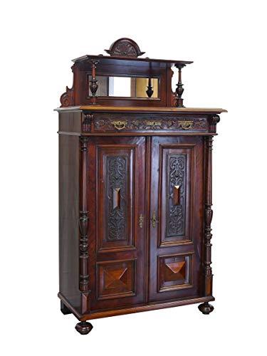 Antikes Vertiko mit Aufsatz Gründerzeit um 1880 in Mahagoni | Highboard Aufsatz-Schrank Zierschrank | B: 103 cm (9267)