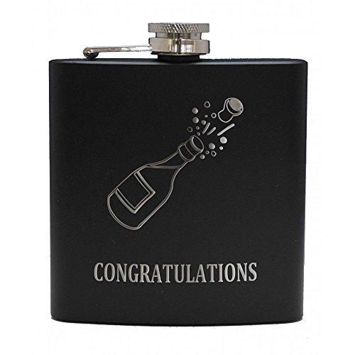 Art Pewter Art Zinn Congratulations (Champagner in) Schwarz Flachmann Box Set