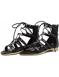 Blazer de tamaño grande tamaño estudiante alta zapatos sandalias un vendaje,negro,42