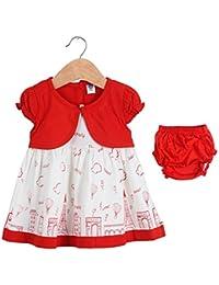 LK Vyapaar Girls Frock Cotton Red Dress Lovely Print Size-M-L-XL 6-24 Months