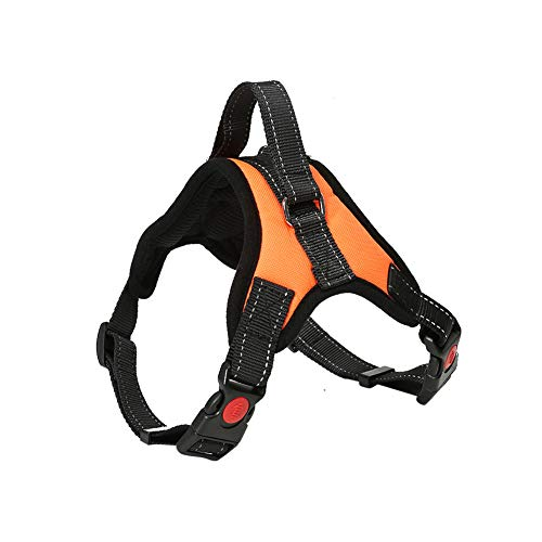 Hundegeschirr Verstellbar Pet Dog Vest Harness Welpengeschirr Weich Gepolstertes Brustgeschirr Weste Orange M