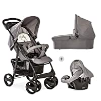 Hauck Shopper SLX Trio Set Pushchair up to 25 kg + Group 0 Car Seat + Carrycot, Mattress from Birth, Buggy with Lying Function, Cup Holder, Large Basket, Small Folding - Pooh Cuddles Grey Beige