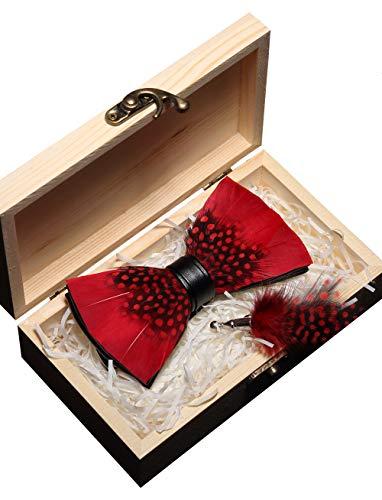 JEMYGINS Handgemacht Hochzeit Party Leder Feder Rot Fliegen und Brosche mit Geschenkbox Set für Herren (7)