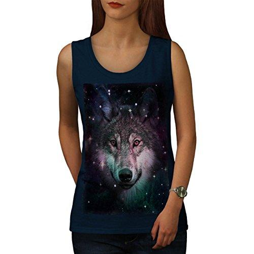 Wolf Platz Kosmos Tier Star Nacht Damen S-2XL Muskelshirt   Wellcoda Marine
