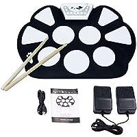 VTOP Electronic Drum Kit Set Drum Practice Pads with Drum Sticks - Roll Up Drum Kit Electronic with Recorder Function for Beginner Kids Children Birthday's Gift