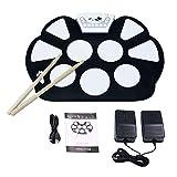 V.TOP Bateria Musical Electrónica para Niños- Kit De Pad Roll Up Silicona Portátil Plegable Con Palanca Y Pedal De Pie - Enrolle Drum Pad Electrónico Kit(Instrumentos de Música)