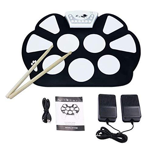 V.TOP Bateria Musical Electrónica para Niños- Kit De Pad Roll Up Silicona Portátil Plegable Con...