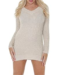 Love My Fashions Womens Fluffy Jumper V-neck Ladies Knitted Dress Winter Top