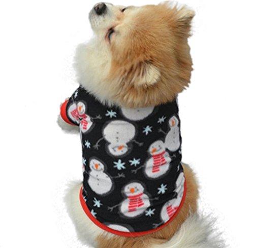 Tongshi Navidad Mascota Puppy muñeco de nieve caliente Chaquetas de alto grado ropa bordada (L, Negro)