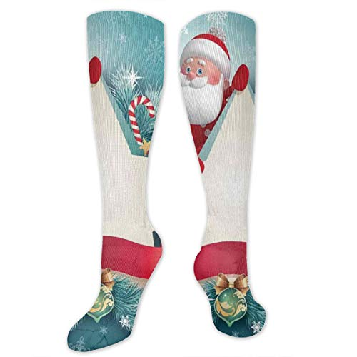 Unisex Highly Elastic Comfortable Knee High Length Tube Socks,Santa Claus Star Banner Snowflakes Ribbon And Candy Cane Tree Winter Season Theme,Compression Socks Boost Stamina,Red White