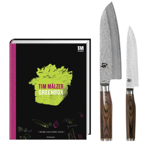 """Tim Mälzer Set mit Kochbuch """"Greenbox"""", Allzweckmesser 16cm und Santoku 18cm"""