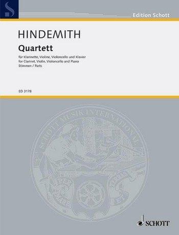 SCHOTT HINDEMITH PAUL - QUARTET - CLARINET, VIOLIN, CELLO AND PIANO Klassische Noten Gemischtes Ensemble