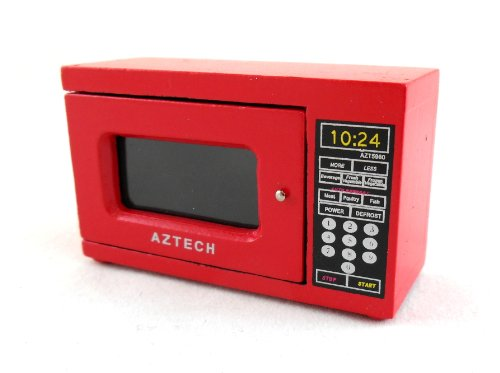 dolls-house-miniature-modern-kitchen-appliance-accessory-red-microwave