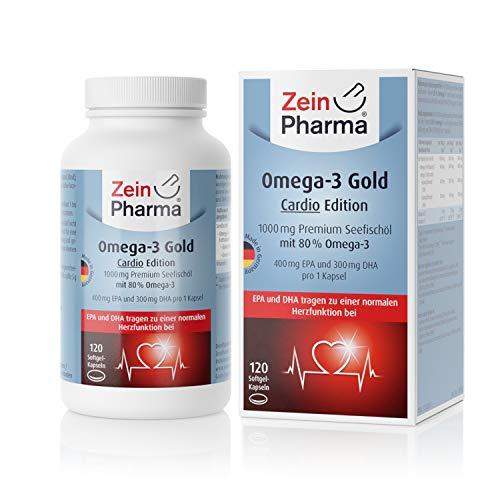 ZeinPharma Omega-3 Gold -Cardio Edition- Premium Seefischöl 1000mg • 120 Softgel Kapseln • mit EPA, DHA & Vitamin E • Hergestellt in Deutschland - 300 Mg 30 Softgels